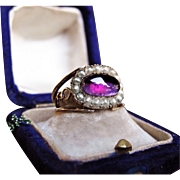 *Dark Energy* Antique Early 19th Century Cabachon-Cut Amethyst & Pearl 18K Gold Ring with Inscription