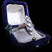 *Tip of the Spear* Antique Edwardian Diamond Platinum & 18K Gold Ring