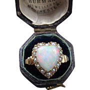 """Sweetheart"" Vintage Opal and Pearl 14k Heart Ring (Size 5.75)"