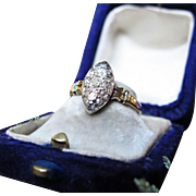 *Diamond Almond* Antique Victorian Diamond Silver & 18K Gold English Ring