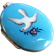 *The Dove* Antique Painted Enamel Locket in 9K Gold and Silver