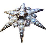 *The Star* Antique Victorian 18K Gold Star Brooch with Diamond & Pearls