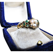 *Emeralds of Mystery* Antique est. c.1880 Pearl & Emerald Ring in 18K Yellow Gold