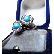 *Turquoise Lovers* Turquoise & Diamond Ring in 14k Gold