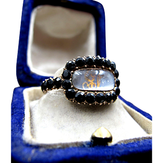 *The Black Gates* Inscribed Gold Memorial Ring with Initialed Back Face & Jet Stones