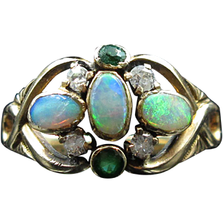*In Living Colour* Triple Opal Ring with Emeralds and Diamonds (size 5.5)