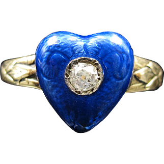 *Blue Valentine* Blue Enamel and Diamond Heart Ring (size 8.5)