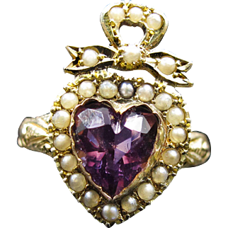 *Elizabeth's Decree* Amethyst & Pearl Crown and Heart Ring (size 6)