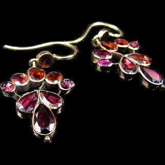 *Fiery Dew* Rich Multi-Color Garnet Georgian Conversion Earrings