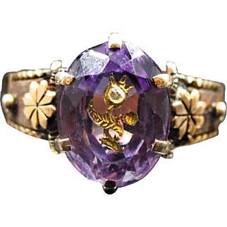 """""""Fields of Gold and Violet""""  Victorian Amethyst Ring with engraved Flower and inset Diamond set in 14k solid Gold (size 7)"""