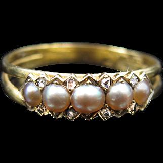 *Waxing Moons* Rare Georgian Hallmarked 1810 Pearl & Diamond Ring Closed Back in 22k Gold