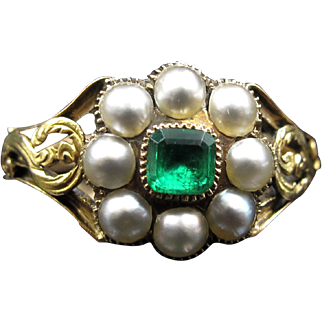 *Secret Envy* Emerald & Pearl Ring in 18K Yellow Gold Victorian Example