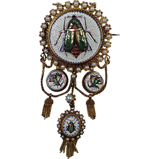 Mid Victorian Egyptian Revival Micro Mosaic 18K Gold Brooch with Pearls