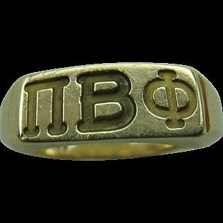 Vintage Pi Beta Phi Sorority 10k Gold Ring size 4.5