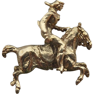 14k Gold Cowboy on Horse Articulated Charm