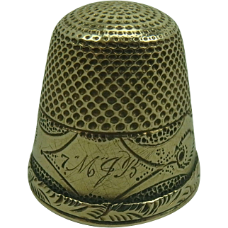 Antique 10k Gold Thimble, monogram MJB