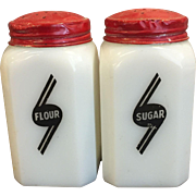 Pair of Milk Glass Flour and Sugar Shakers with Art Deco Lettering
