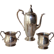 3 Pc. Sterling Silver Gorham Coffee Set, Monogrammed 'STR'