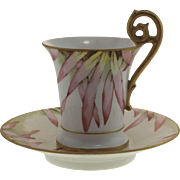 Hand Painted Limoge Chocolate Cup and Saucer, Signed T&V France