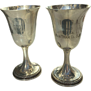 Pair of Sterling Trophy Goblets, National Skeet Shooting Association