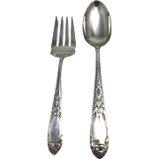 Sterling Silver Serving Set, Meat Fork and Spoon, S. Kirk & Son