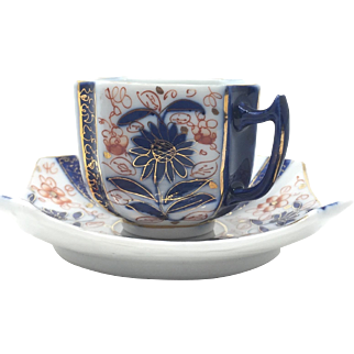 Hand Painted Demi Tasse Cup and Saucer Blue and Orange Chrysanthemum  with Gold Accents