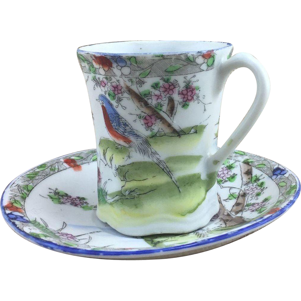 Hand Painted Floral / Bird Japanese / Asian Demi Tasse Cup and Saucer