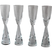 Set of 4 Mid Century Cordial Glasses, Holmegaard Princess
