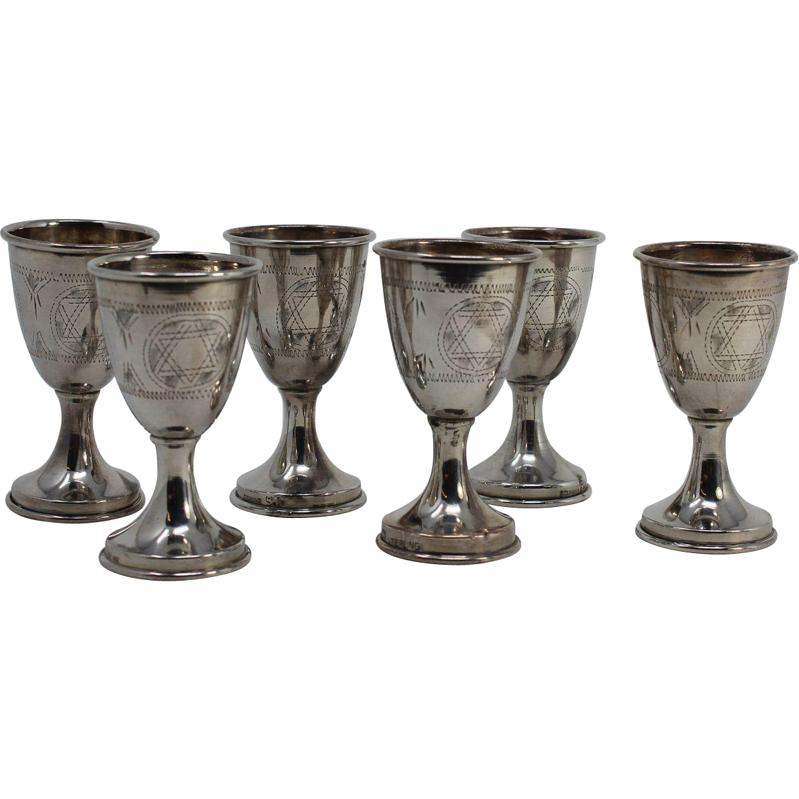 6  Kiddush Cordial Cups, Sterling 84
