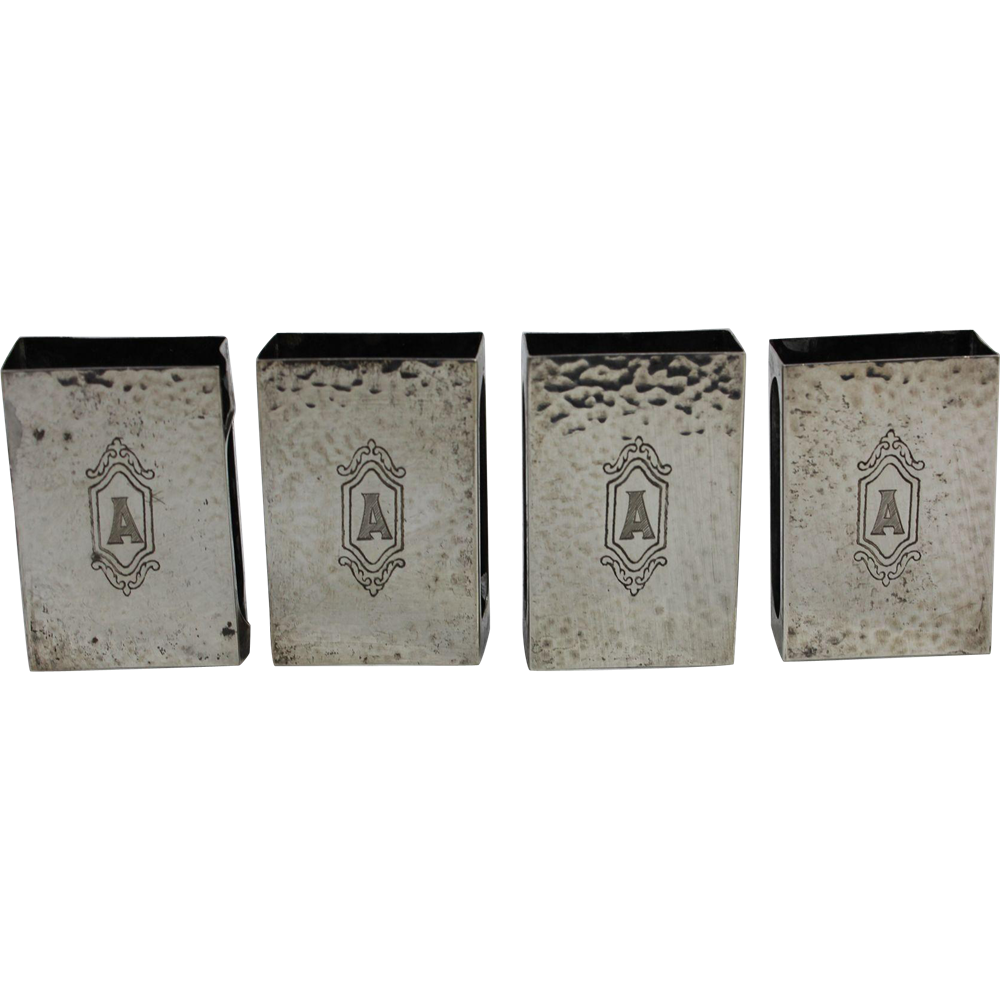 4 Sterling Match Box Covers, Monogrammed A