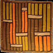 Vera Neumann Graphic Scarf, Copper Brown, Orange, and Mustard Yellow