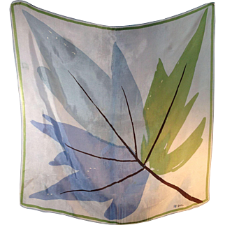 Vera Neumann Mid-century Blue Green Leaf Design Scarf