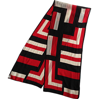 Vera Neumann Long Silk Scarf in Red White and Black