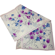 Vera Neumann Graphic Scarf, Blue and Purple Rose Drawing Pattern