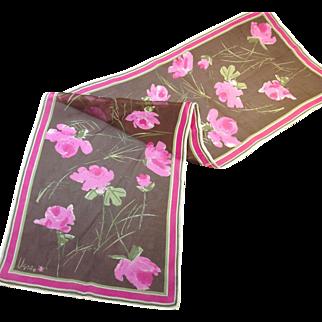 Vera Neumann Pink Roses Graphic Brown Verasheer Mid-Century Scarf