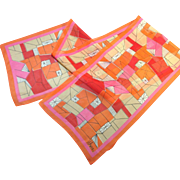 Vera Neumann Pink and Orange Geormetric Graphic Mid-Century Mod Scarf