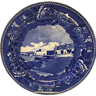 Wedgewood Flow Blue Cabinet Plate-Ft. Ticonderoga