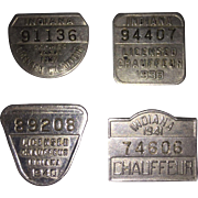 Four Indiana Chauffeurs Licenses - 1937, 1938, 1940, and 1941
