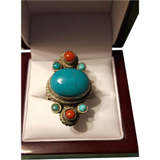 Vintage  Sterling  Silver Turquoise  and Coral  Ring
