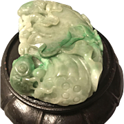 Vintage Chinese Estate Extra Large Hand Carved Lotus Apple Green Jadeite Pendant