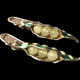 Vintage Chinese Enamel $ Jade  Pea Pod Earrings