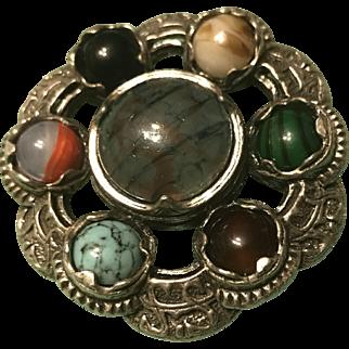 Victorian C1890 Sterling Silver Scottish Agate Gemstone Brooch & Pendant
