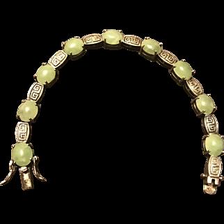 Vintage Chinese Sterling Silver Jade & Jadeite Bracelet