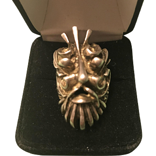 Solid Sterling Silver Green Man Folklore Ring