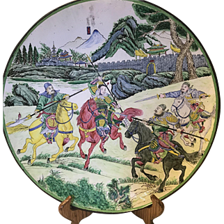 Vintage Chinese Canton Enamel Charge Plate With Warrior,Horse ,Landscape Scene