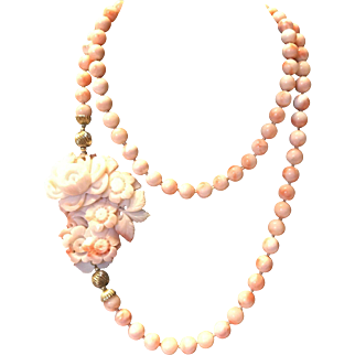 Stunning Large Art Deco Carved Angle Skin Coral Floral Pendant W/Angle Skin Beads Necklace
