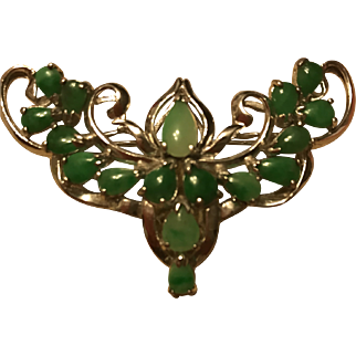 Fabulous Vintage 925 Sterling Silver Natural  Green jade Jadeite Brooch Pin
