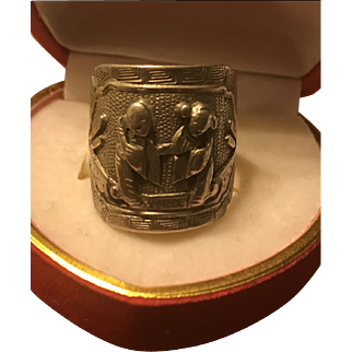 Vintage Chinese Silver Repousse Ring