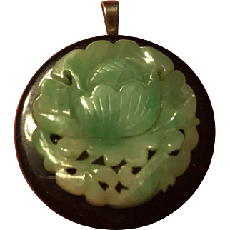 Vintage Chinese Large Natural Green Jade Lotus Pendant With Onyx