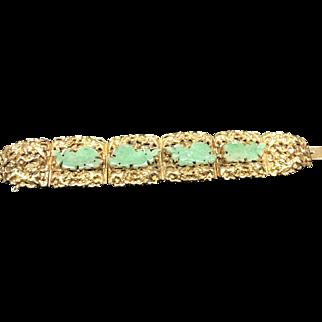 Vintage Chinese Gilt Silver Carved Jadeite Jade  FooDog Bracelet